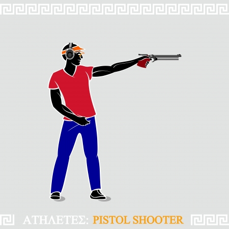 Greek art stylized air pistol shooter ready to shoot Vector
