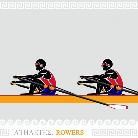Greek art stylized rowing team at the competition Vector