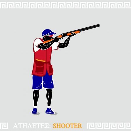 fusil de chasse: Grecque tireur au pigeon d'art stylis� avec fusil de chasse
