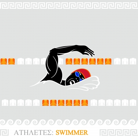 beat the competition: Greek art stylized freestyle swimmer at the pool