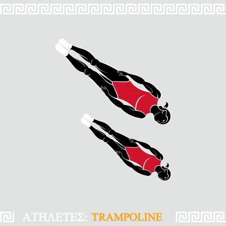Greek art stylized trampoline gymnasts do synchronized acrobatics