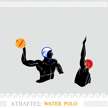 polo ball: Greek art stylized water polo players attack and defense