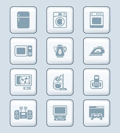 playstation: Modern home electronics gray icon-set