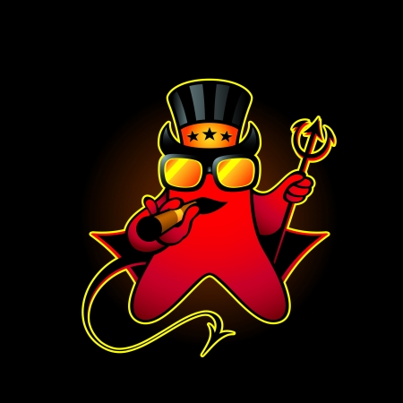 Devil smiley with cigar and trident over black Vector