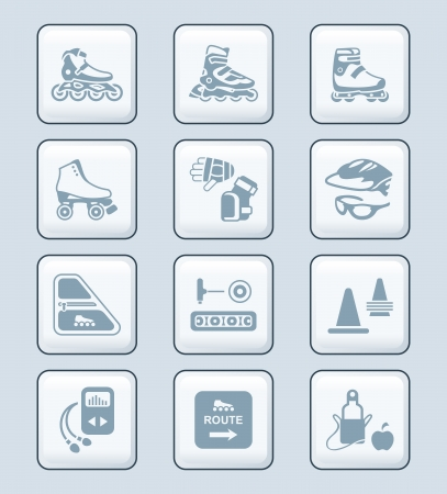 aggressive people: Inline skating boots, protection, accessories icon-set Illustration