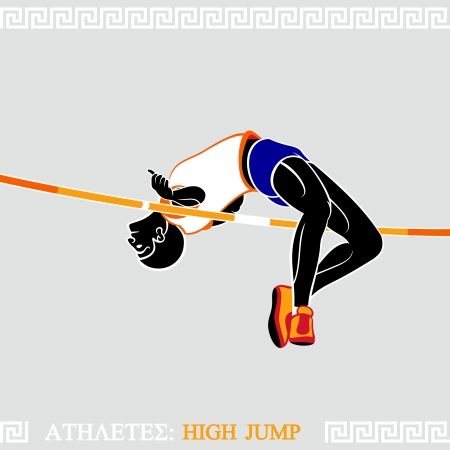 high jump: Greek art stylized athlete jumping high over crossbar
