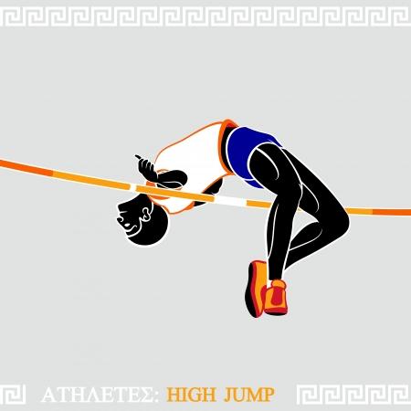 crossbar: Greek art stylized athlete jumping high over crossbar