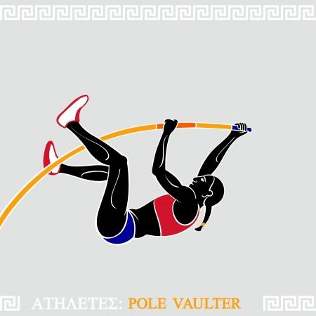 Greek art stylized female pole vaulter take off to new record Illustration