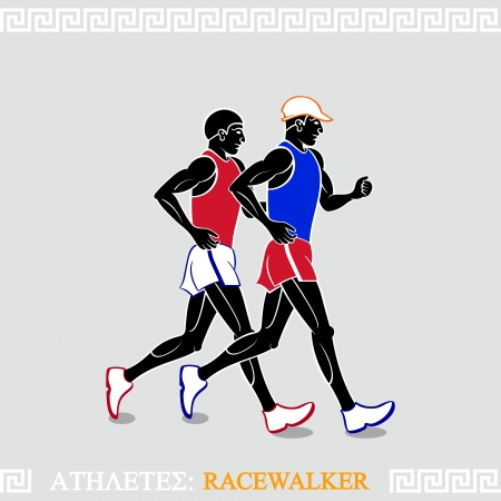 Greek art stylized racewalkers at the competition Иллюстрация
