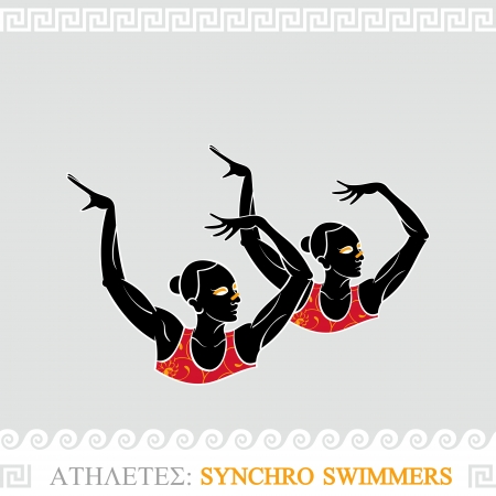synchronized: Greek art stylized synchronized swimmers duet Illustration