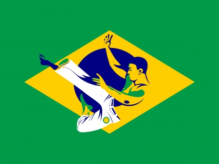Capoeira fighter jumping over Brazil flag