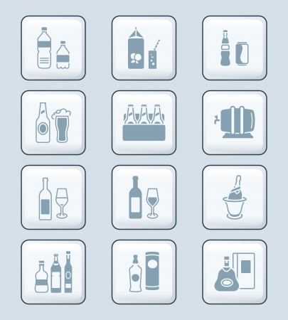 non alcoholic beer: Traditional non- and alcoholic drinks icon-set
