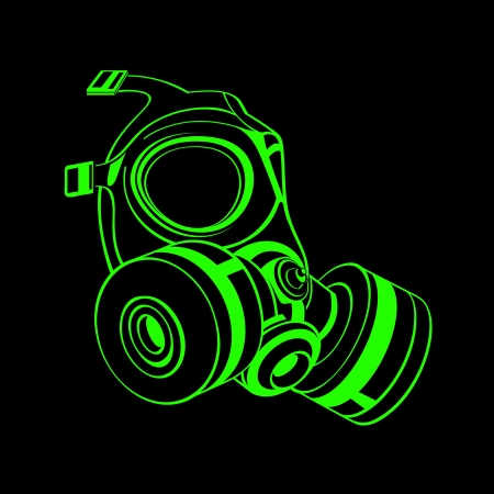 army gas mask: Green contour gas mask isolated over black Illustration