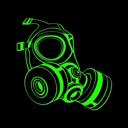 mascara gas: Verde máscara de gas contorno aislado más de negro