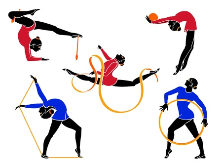 Rhythmic gymnasts Illustration
