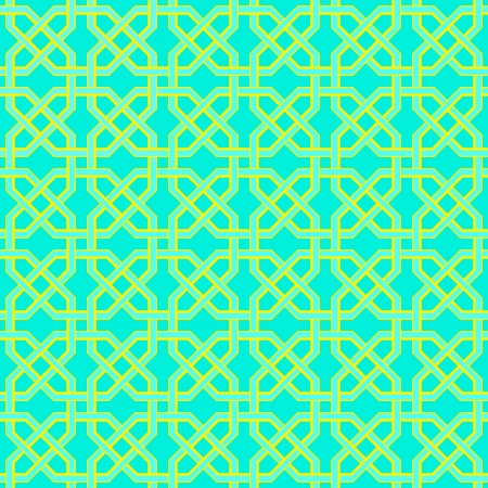 Arabesque golden-blue seamless turkish pattern Vector