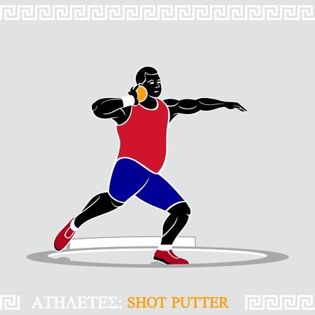 putter: Greek art stylized shot putter in action