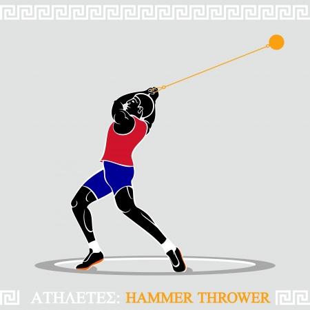 lancer marteau: Grec lanceur de marteau art stylis� dans la comp�tition Illustration