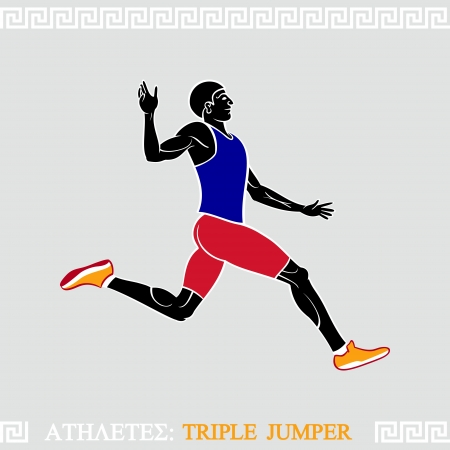 long jump: Greek art stylized athlete at jumping sequence