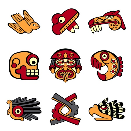 hieroglyphics: Aztec animal and abstract symbols
