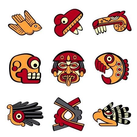 hieroglieven: Aztec dier en abstracte symbolen