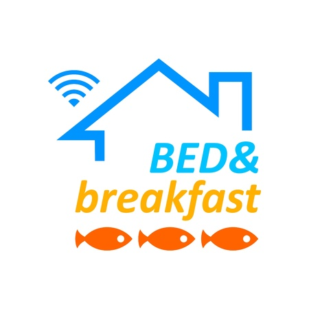 breakfast in bed: Bed   breakfast symbol with Wi-fi access
