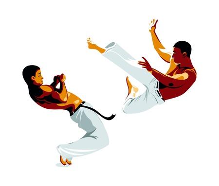 leg muscle: Capoeira combatientes patada y defensa aislado