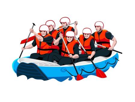 adrenaline: White water rafting mannen en vrouwen team Stock Illustratie
