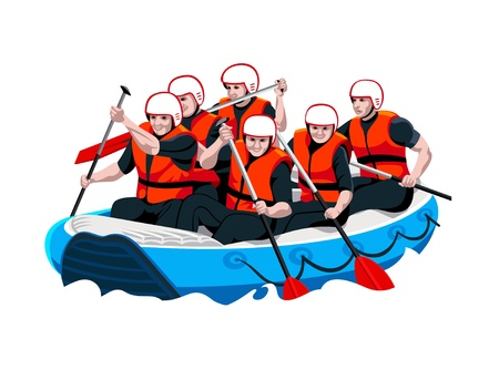 survive: White water rafting men and women team