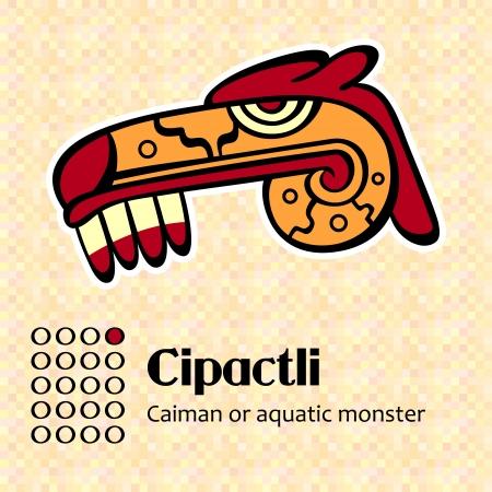 Aztec calendar symbols - Cipactli or caiman (1) Vector