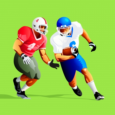 man in field: Two american football player fighting for a ball
