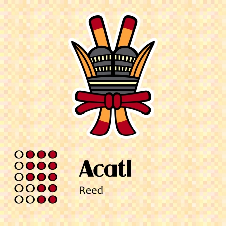 codex: Aztec calendar symbols - Acatl or reed  13