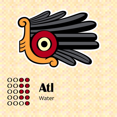 Aztec calendar symbols - Atl or water  9  Vector