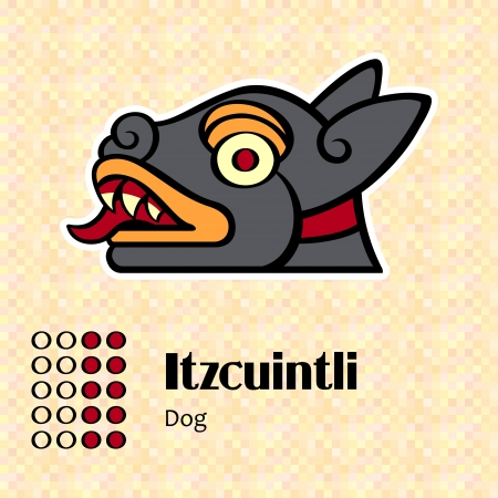 native american art: Aztec calendar symbols - Itzcuintli or dog  10  Illustration
