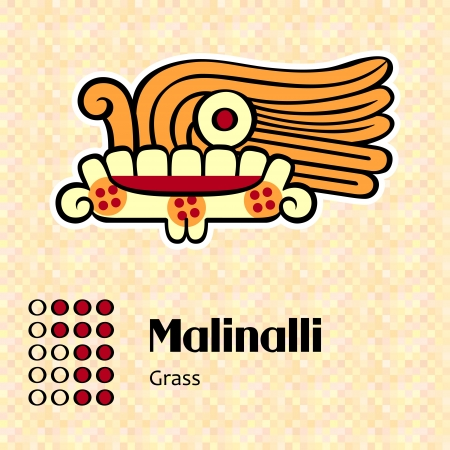 Aztec calendar symbols - Malinalli or grass  12  Vector