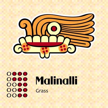 creator: Aztec calendar symbols - Malinalli or grass  12