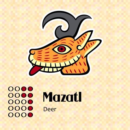 Aztec calendar symbols - Mazatl or deer  7  Vector
