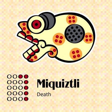 Aztec calendar symbols - Miquiztli or death  6  Stock Vector - 14927765