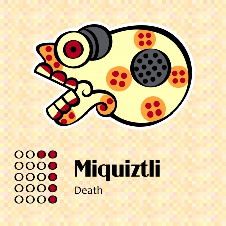 creador: S�mbolos aztecas calendario - Miquiztli o muerte 6 Vectores