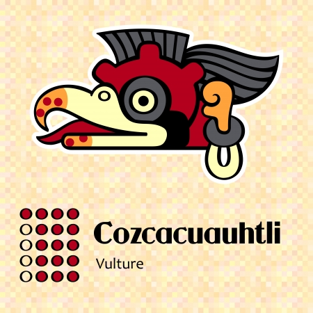 Aztec calendar symbols - Cozcacuauhtli or vulture (16) Illustration