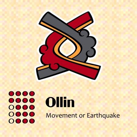 アステカ カレンダー シンボル - Ollin または動き (17)