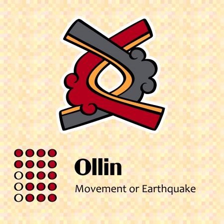 Aztec calendar symbols - Ollin or movement (17)