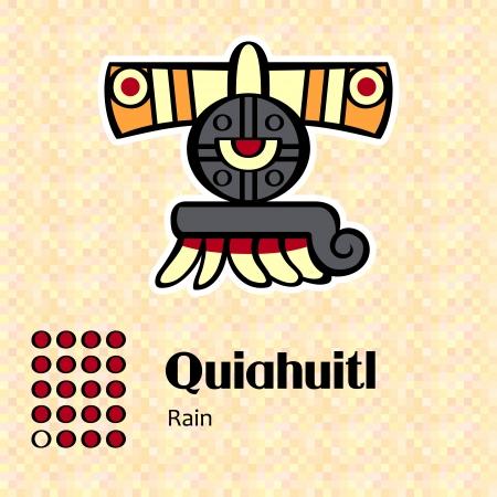 aztec art: Aztec calendar symbols - Quiahuitl or rain (19)