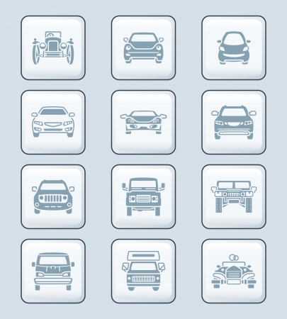 Modern and vintage cars front view icon-set Vector