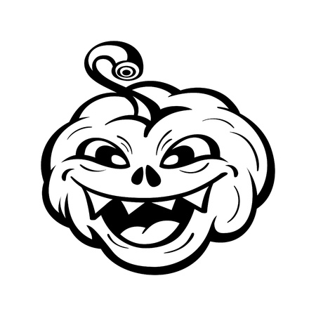 carved pumpkin: Funny Halloween pumpkin tattoo isolated over white Illustration