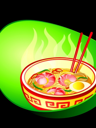 Asian noodle soup with prawns poster Vector