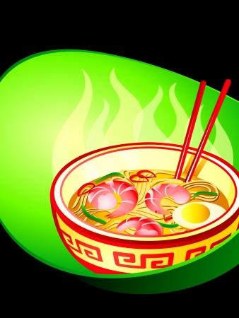 ramen: Asian noodle soup with prawns poster