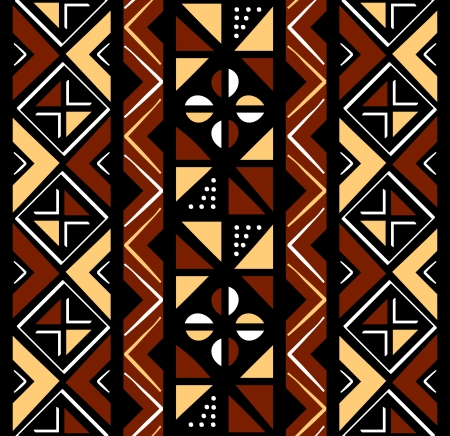 African seamless coffee pattern in rough shapes Vector