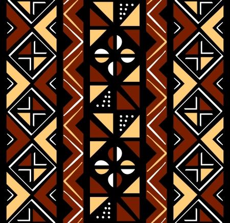 ilustraciones africanas: Patrón africano café perfecta en formas en bruto Vectores