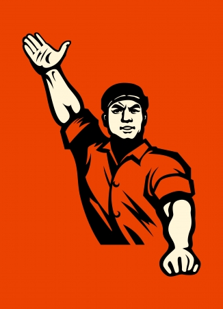 Propaganda poster with agitated worker in red Vector